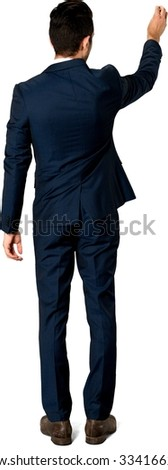 Serious Caucasian man with short dark brown hair in business formal outfit screwing - Isolated