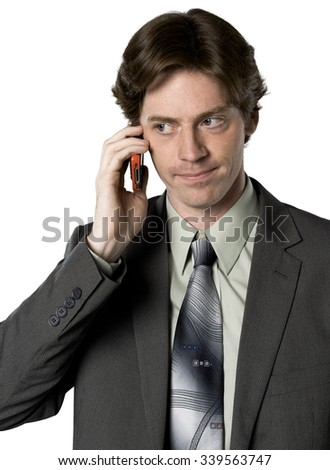 Serious Caucasian man with short dark brown hair in business formal outfit talking on phone - Isolated