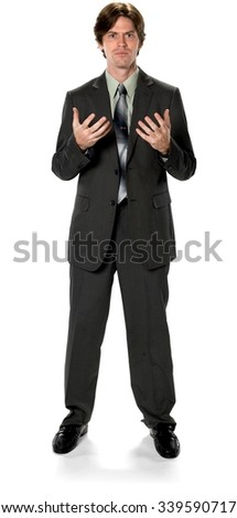 Serious Caucasian man with short dark brown hair in business formal outfit talking with hands - Isolated
