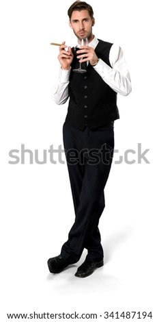 Serious Caucasian man with short dark brown hair in business formal outfit using wine glass - Isolated