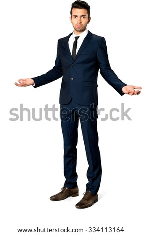 Serious Caucasian man with short dark brown hair in business formal outfit with arms open - Isolated
