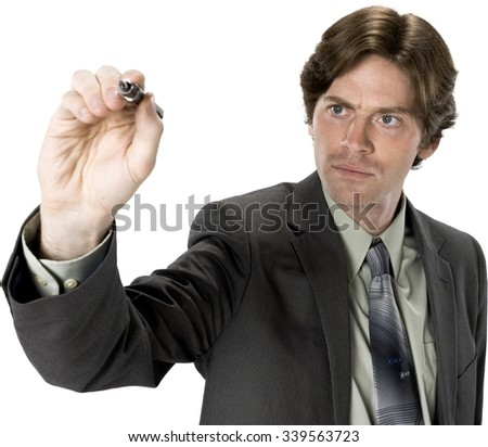 Serious Caucasian man with short dark brown hair in business formal outfit writing - Isolated