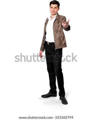 Serious Caucasian man with short dark brown hair in casual outfit beckoning - Isolated