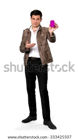 Serious Caucasian man with short dark brown hair in casual outfit holding business card - Isolated
