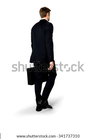 Serious Caucasian man with short medium blond hair in business formal outfit holding briefcase - Isolated - stock photo