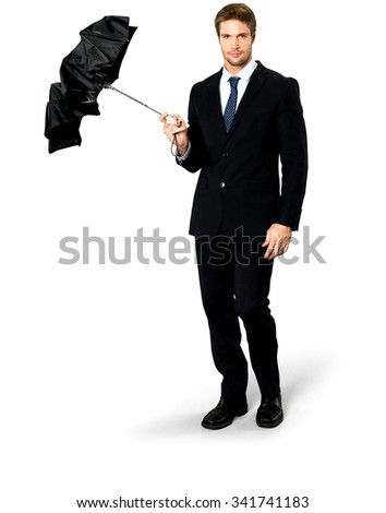 Serious Caucasian man with short medium blond hair in business formal outfit holding umbrella - Isolated