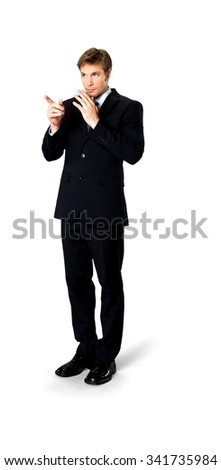 Serious Caucasian man with short medium blond hair in business formal outfit pointing using finger - Isolated