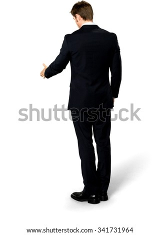 Serious Caucasian man with short medium blond hair in business formal outfit pointing using palm - Isolated