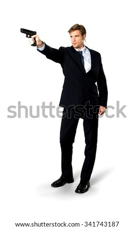 Serious Caucasian man with short medium blond hair in business formal outfit using handgun - Isolated