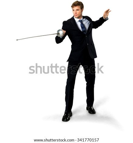 Serious Caucasian man with short medium blond hair in business formal outfit using sword - Isolated