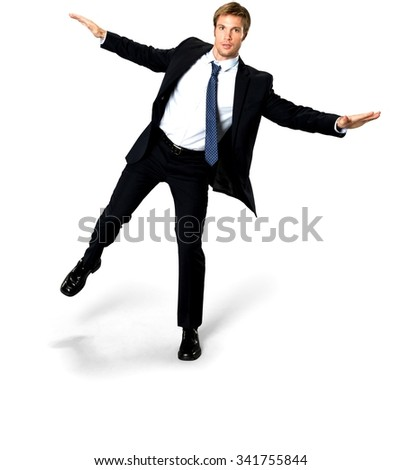 Serious Caucasian man with short medium blond hair in business formal outfit with arms open - Isolated - stock photo