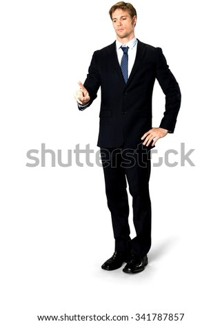 Serious Caucasian man with short medium blond hair in business formal outfit with hands on hips - Isolated