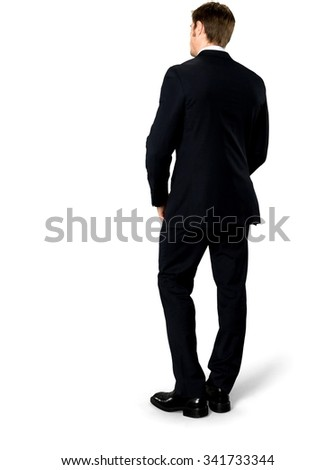 Serious Caucasian man with short medium blond hair in business formal outfit with hands on stomach - Isolated