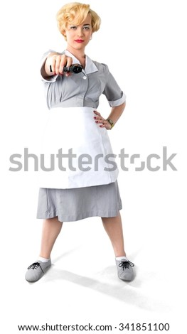 Serious Caucasian woman with short light blond hair in uniform using handgun - Isolated - stock photo