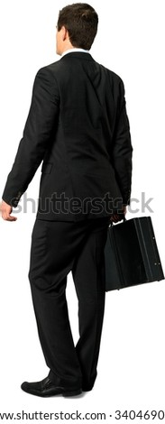 Serious Caucasian young man with short dark brown hair in business formal outfit holding briefcase - Isolated