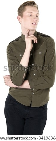 Serious Caucasian young man with short light blond hair in casual outfit fashion pose - Isolated - stock photo