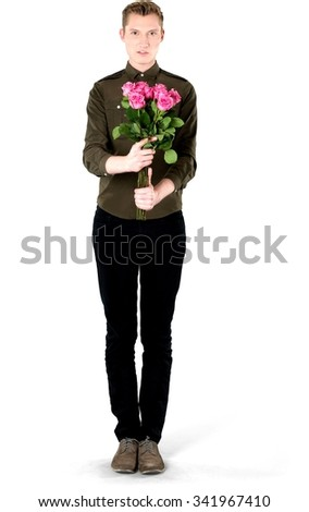 Serious Caucasian young man with short light blond hair in casual outfit holding flowers - Isolated