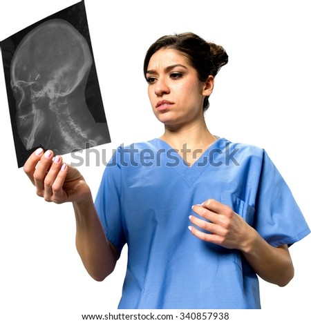 Serious Caucasian young woman dark brown in uniform holding x-ray - Isolated - stock photo