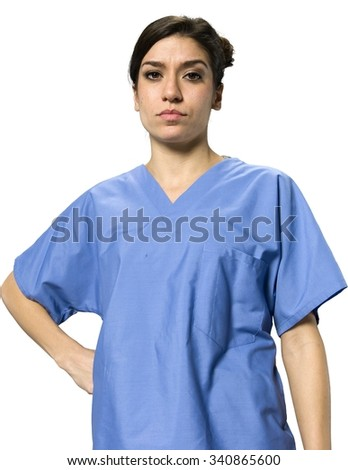 Serious Caucasian young woman dark brown in uniform with hands on hips - Isolated - stock photo