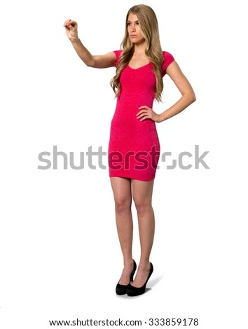 Serious Caucasian young woman with long light blond hair in evening outfit using invisible object - Isolated