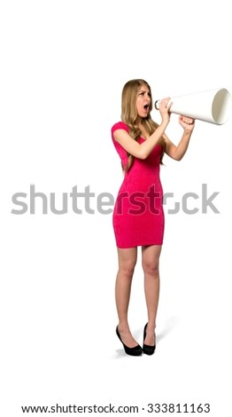 Serious Caucasian young woman with long light blond hair in evening outfit using megaphone - Isolated