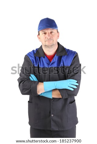 Serious cleaner. Isolated on a white background.