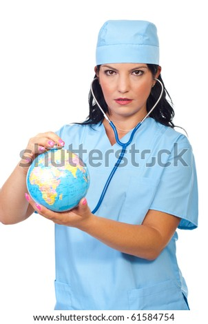 Serious doctor woman examine world globe with her stethoscope isolated on white background