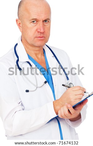 serious doctor writing report over white background