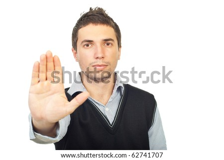 Serious executive man showing stop hand  isolated on white background