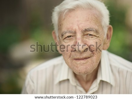 Serious expression 90 year old elder senior man