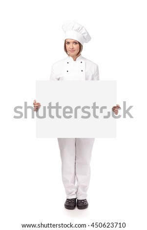 serious female chef, cook or baker holding blank board with empty copy space for you text isolated on white background. advertisement banner. your text here - stock photo