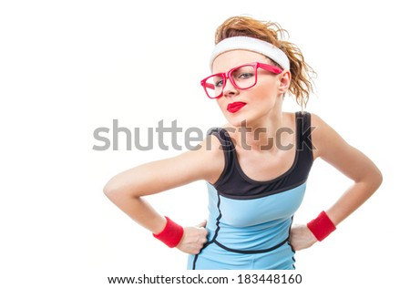 Serious fitness woman, isolated on white - stock photo