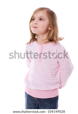 Serious five years girl looking up isolated