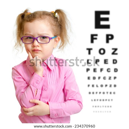 Serious girl in glasses with eye chart isolated - stock photo