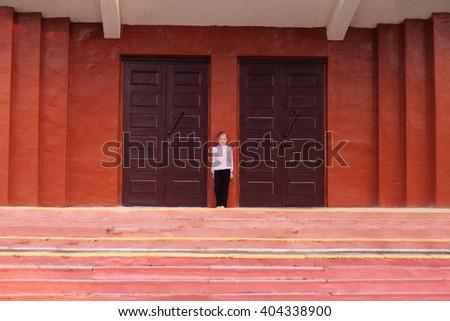 serious girl outdoor - stock photo