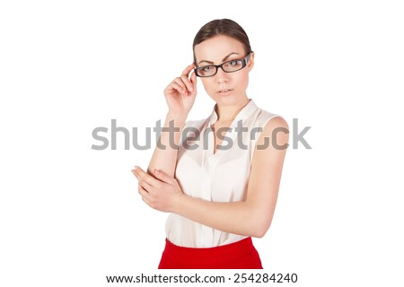 serious girl with glasses - stock photo