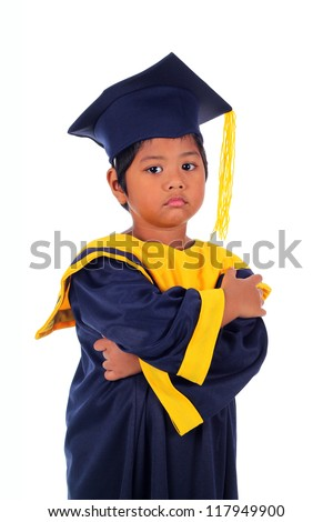 serious graduating little asian student kid isolated on white