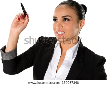 Serious Hispanic young woman with medium dark brown hair in business formal outfit using pen - Isolated