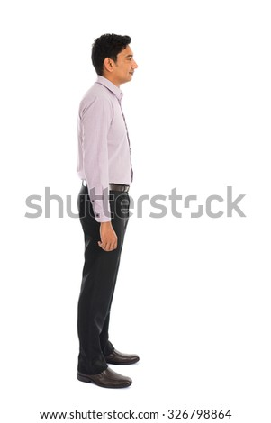 serious indian male business man with isolated white background full body - stock photo