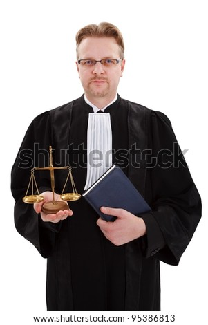 Serious judge holding scale of justice and blue notice book