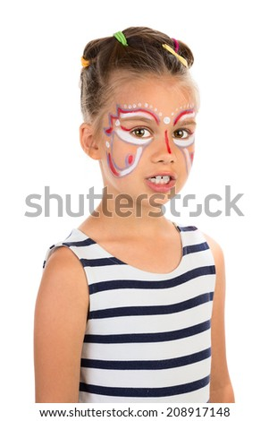 Serious little girl with an open mouth, abstract design paint on her face. Isolated - stock photo