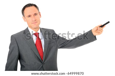 Serious looking businessman during a presentation. All on white background. - stock photo