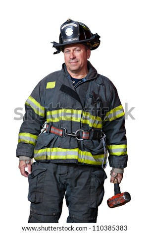 Serious looking confident firefighter standing portrait isolated on white background
