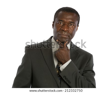 Serious Looking Mid Age African American Male Model on Isolated Background - stock photo
