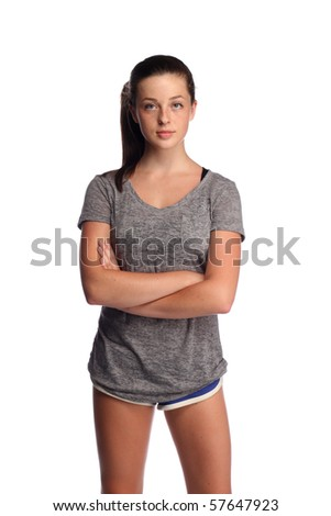 Serious looking teenager in shorts