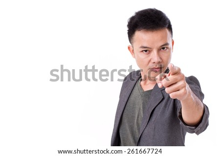 serious man pointing at you - stock photo