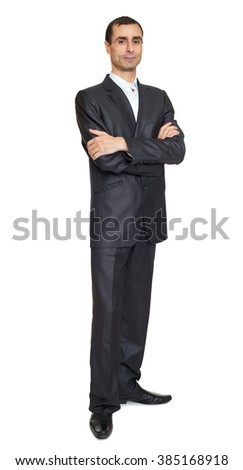 Serious man portrait in suit on white at studio - stock photo