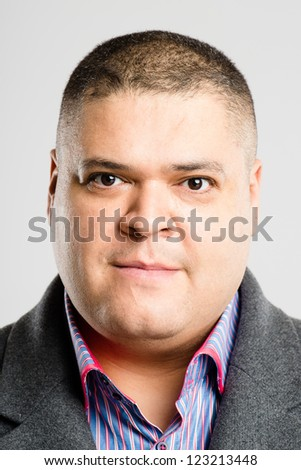 serious man portrait real people high definition grey background - stock photo