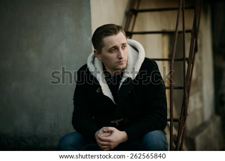 serious man. thinking about something - stock photo