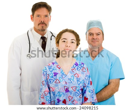 Serious medical team - doctor, surgeon, and nurse - isolated on white background.